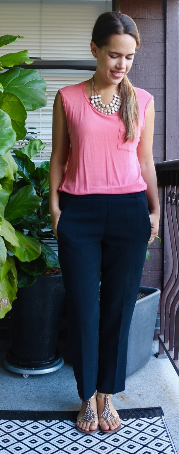 Jules in Flats July Outfits - Wilfred Darontal Pants and Coral Tee