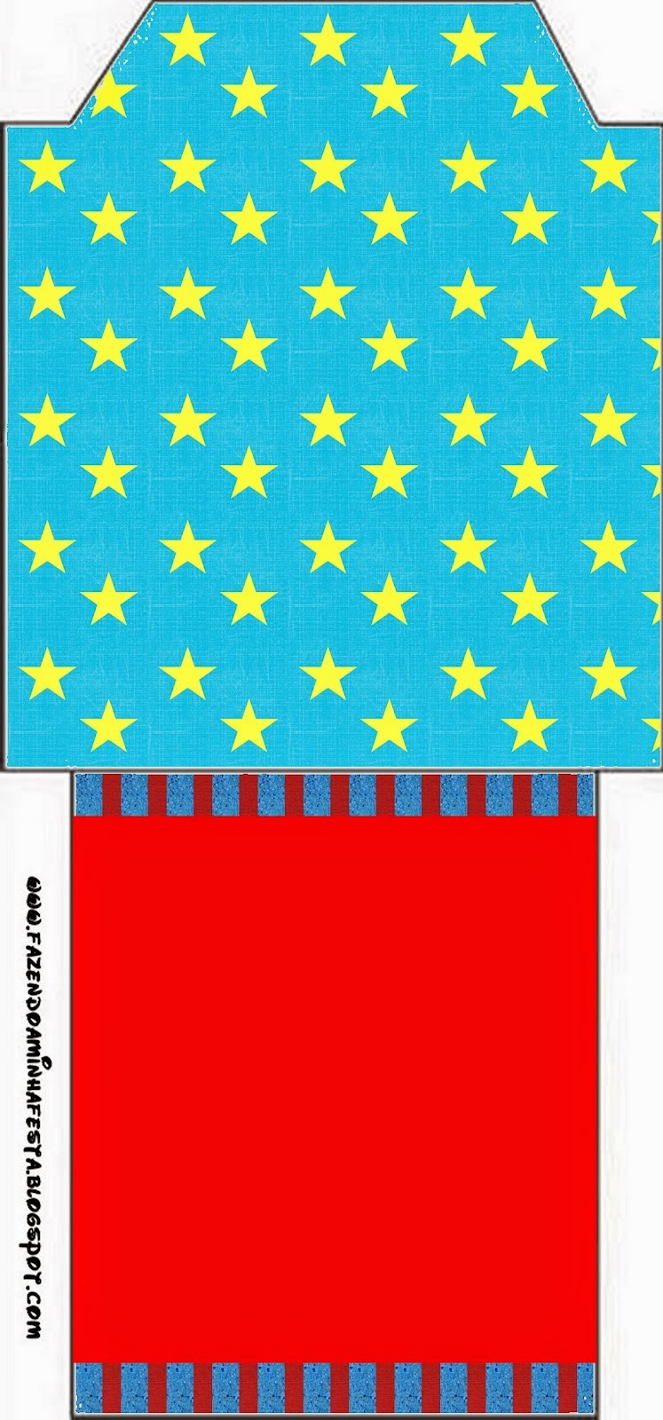 Bolsita de Té para imprimir gratis de Estrellas sobre Fondo Celeste.