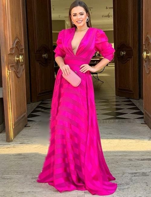 vestido longo pink
