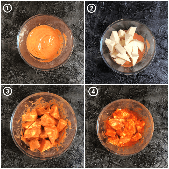 Step by step 4 images of paneer tikka masala in microwave made into collage