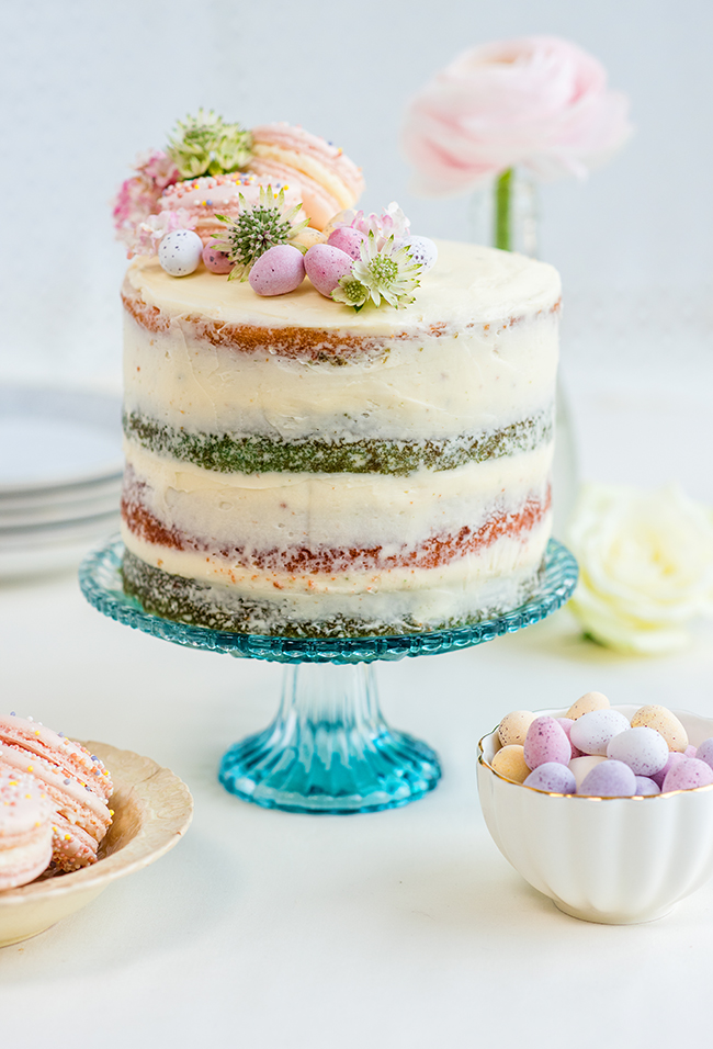 Coconut And Vanilla Naked Cake With Mascarpone Frosting