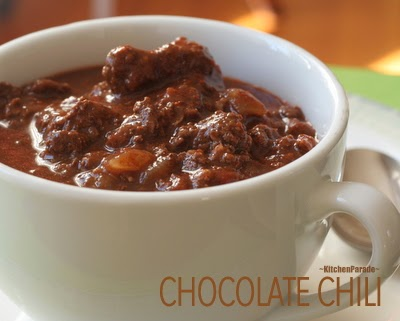 Chocolate Chili. Yes, there's a touch of chocolate plus warm savory spices. My oldest (still best!) recipe for chili!
