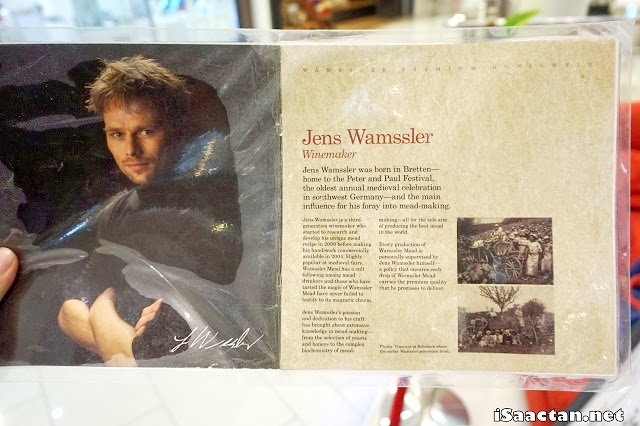A brochure featuring Wamssler Honey Wine's founder, and winemaker Jens Wamssler