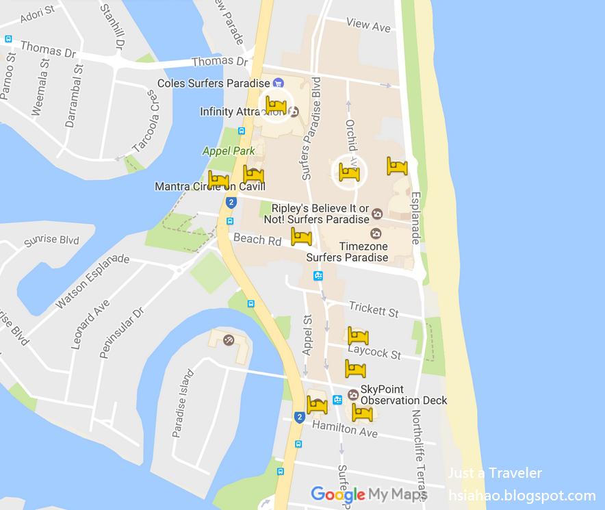 黃金海岸-黃金海岸住宿-推薦-黃金海岸飯店-黃金海岸酒店-黃金海岸旅館-黃金海岸民宿-黃金海岸公寓-地圖-Map-Gold-Coast-Hotel-Apartment