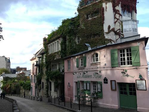 The pinkish La Maison Rose café in Montmartre