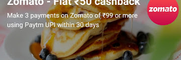 Cashback Rs 50 On Food Order From Zomato