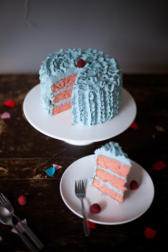 All My Love For You Blue Ruffle Cake Velvet Ribbon