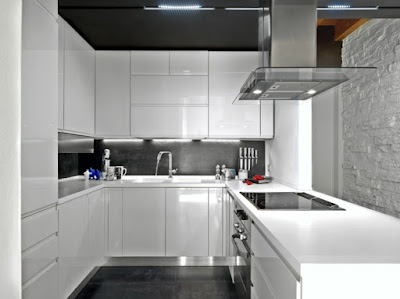 U kitchen design with beautiful accent and led lights