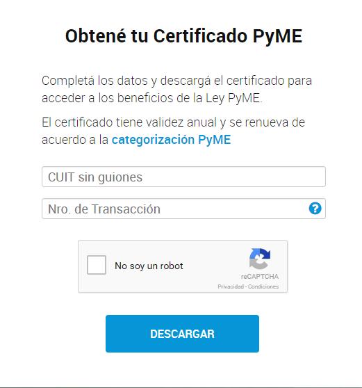 """Ya se puede descargar el """"Certificado MiPyme"""""""