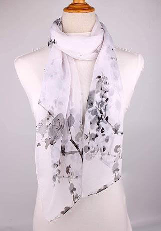 Floral Pattern White Chiffon Scarf