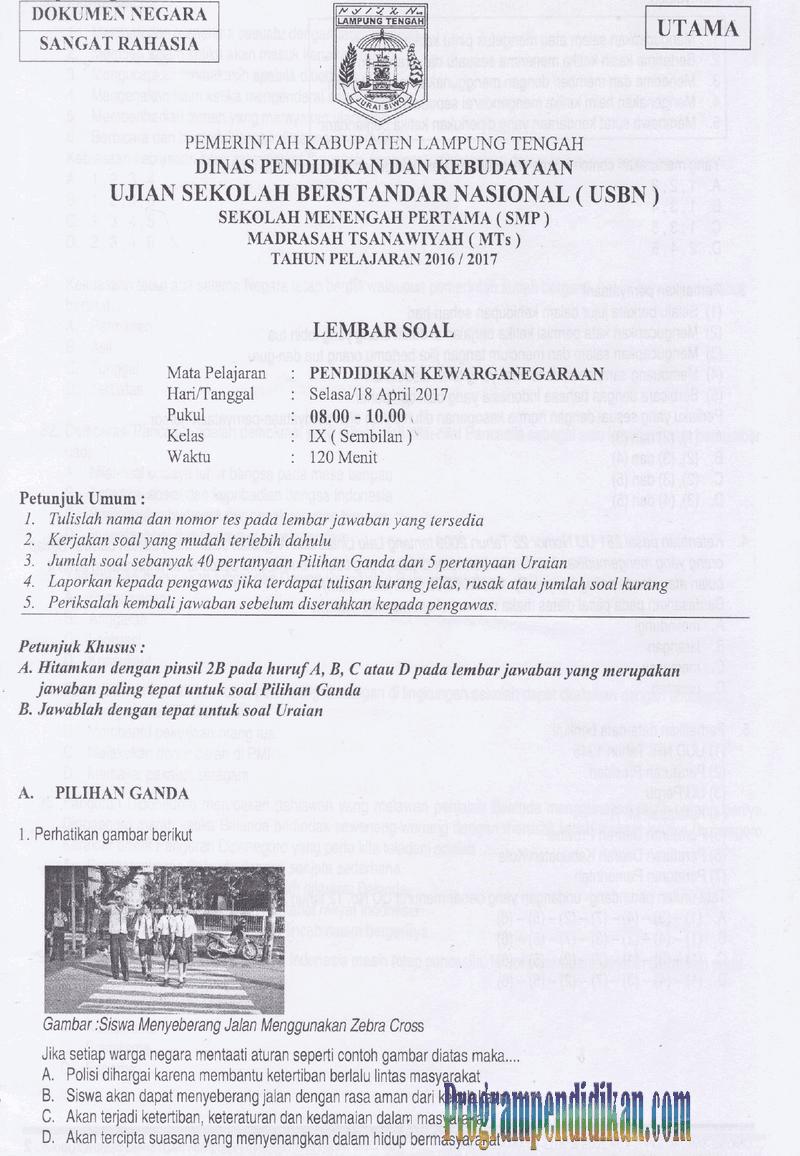 Naskah Asli Soal Usbn Smp Mts Pkn Tahun 2018 Websiteedukasi