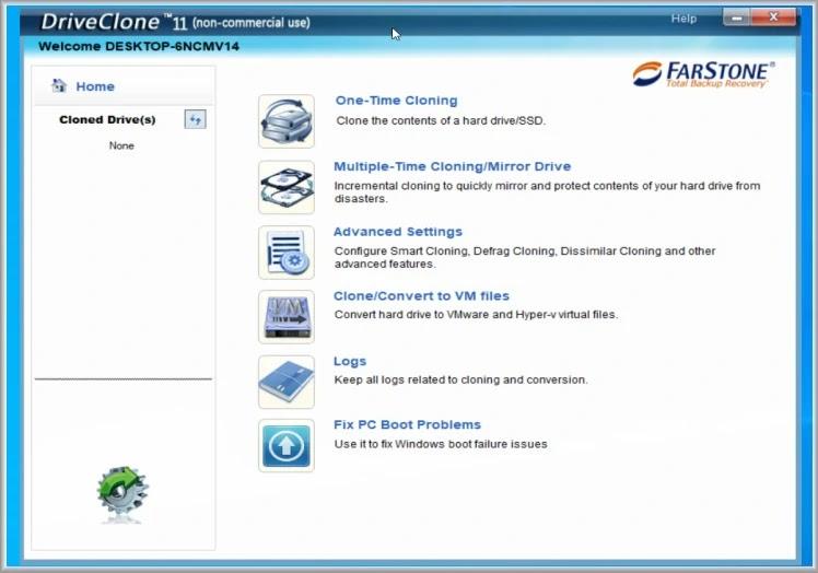 DriveClone Free : Αντιγράψτε το λειτουργικό σας σύστημα σε ένα νέο HD ή SSD