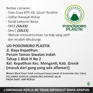 Lowongan Kerja Surabaya Terbaru di UD. Podomoro Plastik Juni 2019
