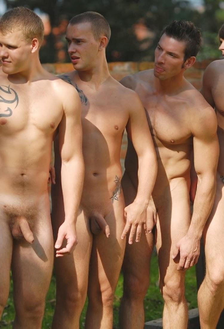 nude men in group photo