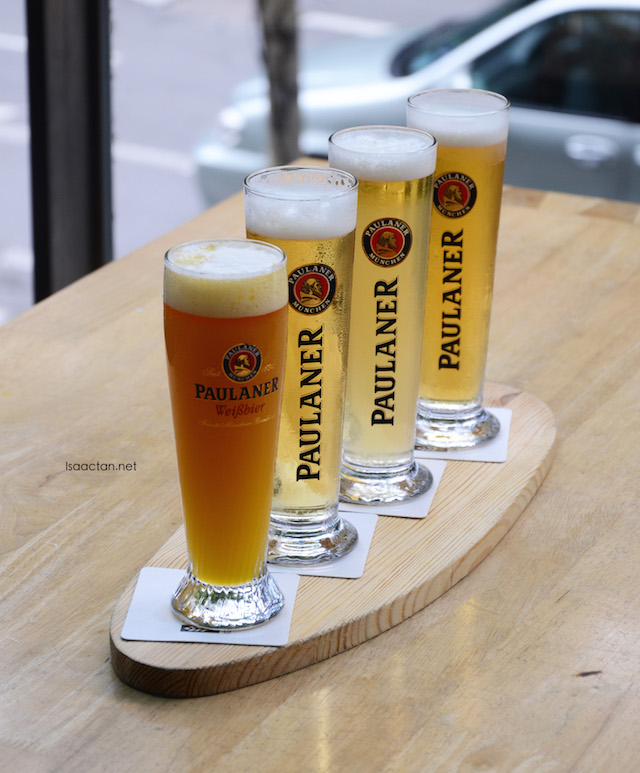 Different flavours of Paulaner beers are available
