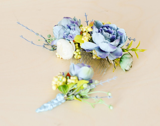Wedding set- flower comb with boutonierre for bride groom and ring boy