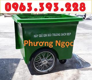 Xe gom rác nhựa 660 Lít, xe gom rác 3 bánh, xe gom rác 660L 3 bánh hơi XR660L3B2