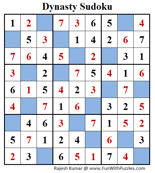 Dynasty Sudoku (Fun With Sudoku #167) Solution