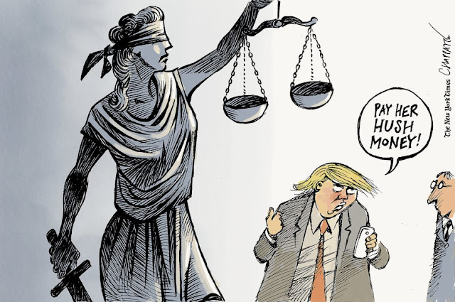 Donald Trump gestures at a statue of Lady Justice while saying to a companion,