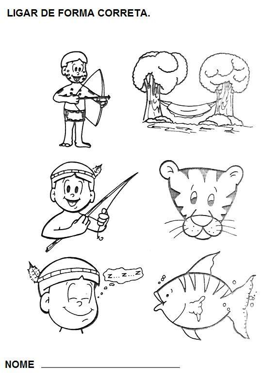 Dia Do Indio Desenhos Atividades Exercicios Colorir Pintar