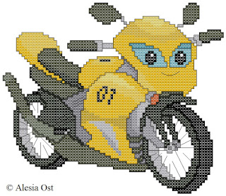 Free cross-stitch patterns, Cartoon Motorcycle, motorcycle, vehicles, clipart, cross-stitch, back stitch, cross-stitch scheme, free pattern, x-stitchmagic.blogspot.it, вышивка крестиком, бесплатная схема, punto croce, schemi punto croce gratis, DMC, blocks, symbols, patrones punto de cruz, #crossstitch_pattern, #crossstitch