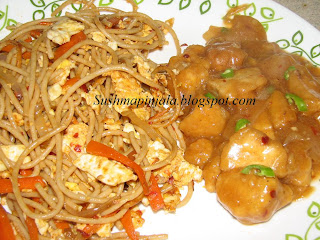 Egg Noodles with Chicken Manchuria