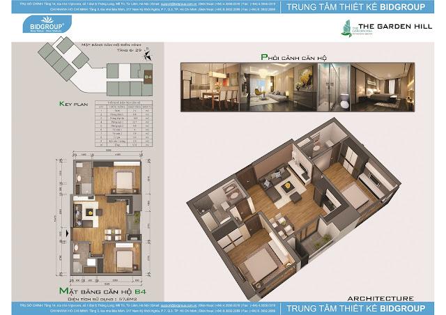 Căn hộ B4 tầng 6-29, diện tích 57m2
