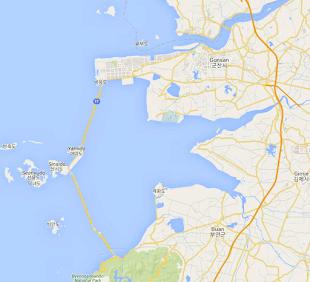 Mapa del dique Saemangeum
