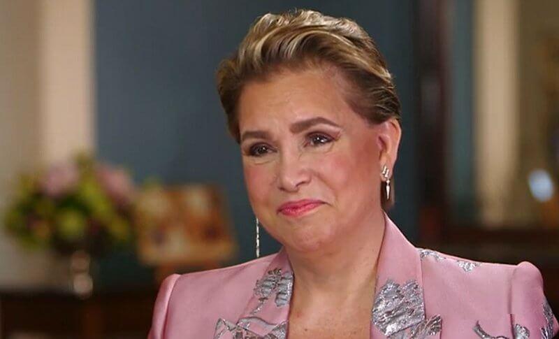 Grand Duchess Maria Teresa wore a floral brocade blazer from Alexander McQueen for this interview
