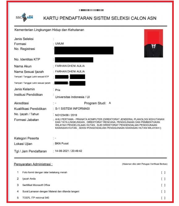gambar kartu pendaftaran seleksi pppk guru 2021