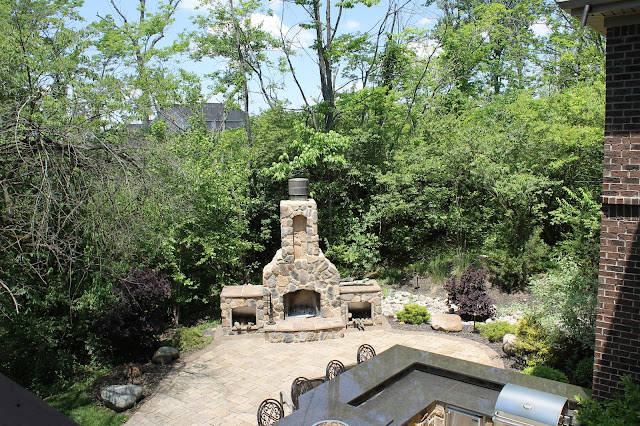 back yard, patio, outdoor fireplace, landscaping, ohio
