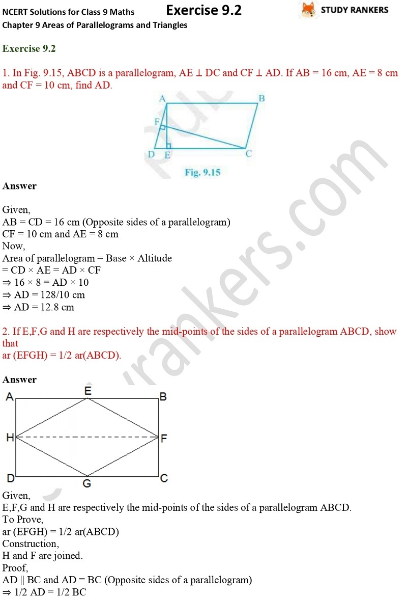 NCERT Solutions for Class 9 Maths Chapter 9 Areas of Parallelograms and Triangles Exercise 9.2 Part 1