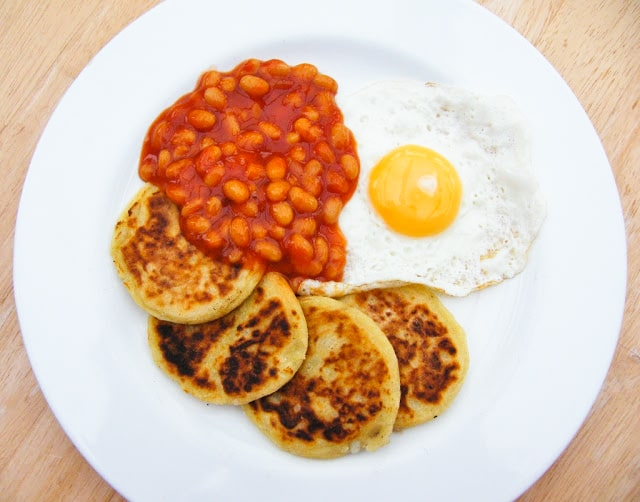 Scottish Tattie Scones in a cooked breakfast with beans and eggs