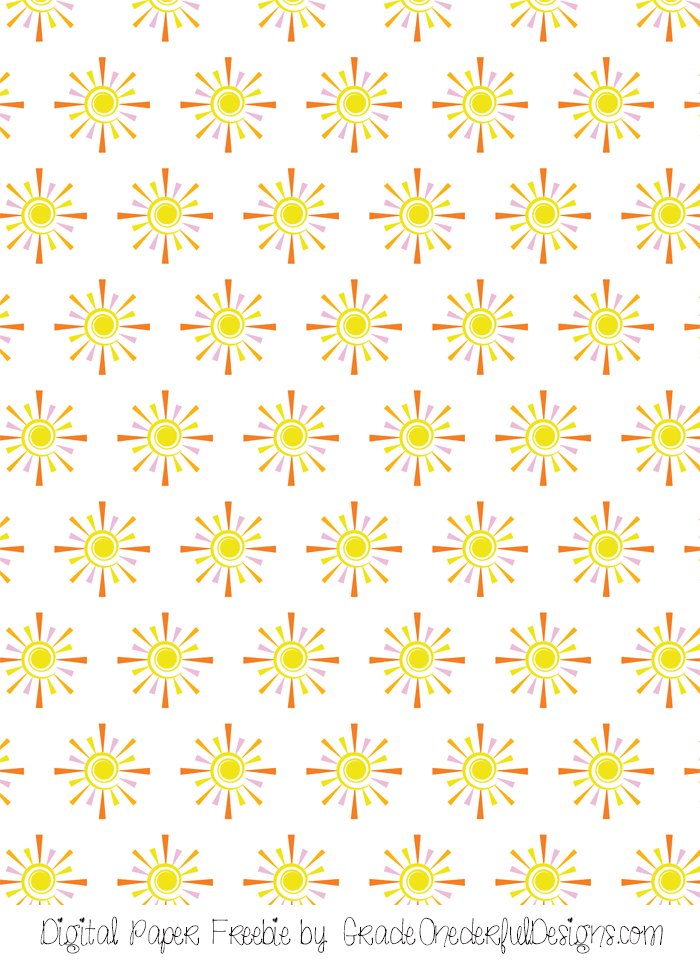 free sunshine clip art and matching digital paper
