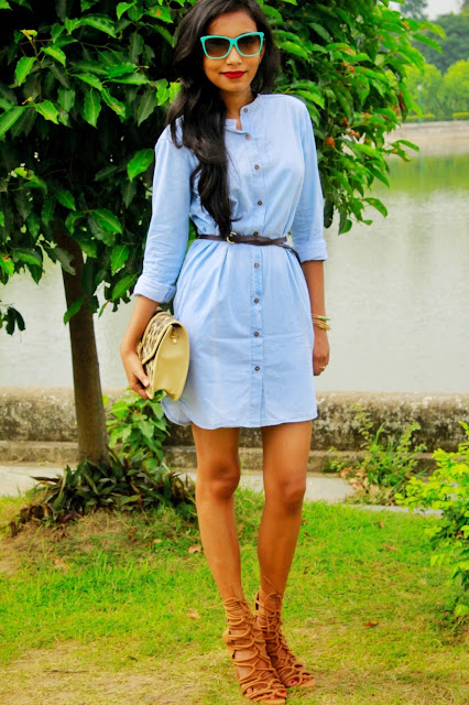 Casual Denim Shirt Dress ft. Bewakoof.com
