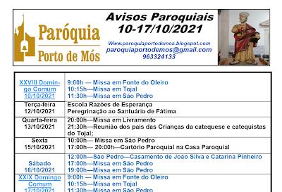 Avisos Paroquiais - 10 a 17 de Outubro 2021