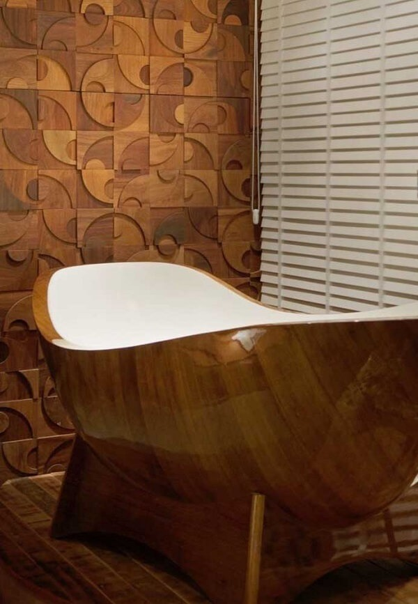 3D bathroom tile may have a wood finish