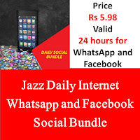 Jazz Package, Jazz Daily Internet Package, Jazz Social Bundle, Jazz Internet Social Bundle, Jazz Daily Social Bundle