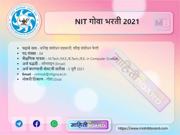 NIT Goa Bharti 2021
