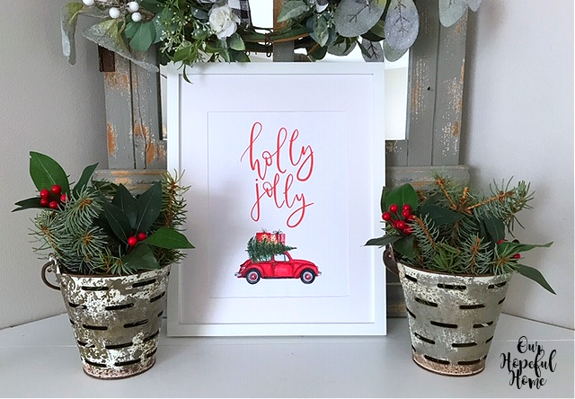 red volkswagen Christmas printable wall art olive bucket greens