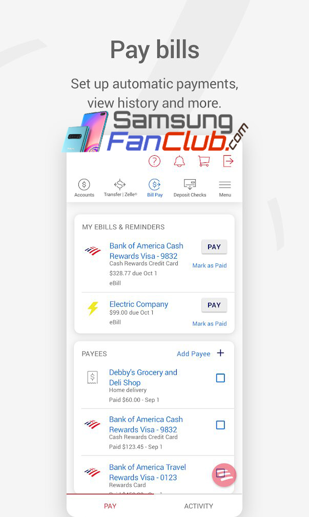 Download Bank of America Internet Banking Android App for Samsung Mobile Phones