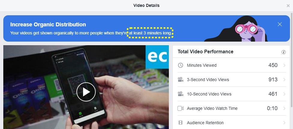 Facebook suggests video with more than 3 minutes long