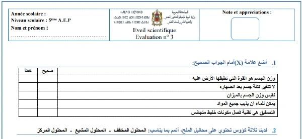 فرض النشاط العلمي المرحلة الثالثة للمستوى الخامس الدورة الثانية 2020/2021