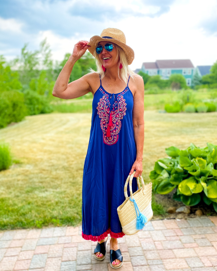Embroidered Sundress with Tassels