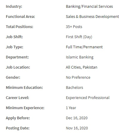 Bank Al Habib Limited Jobs 2020 for Business Development Officer – Islamic Banking