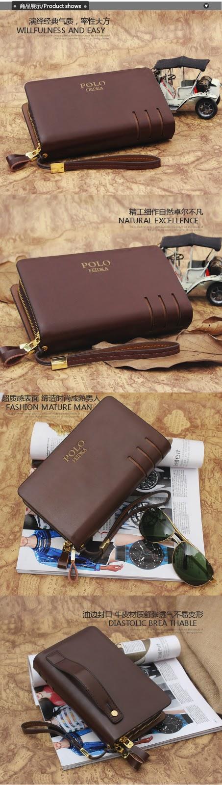POLO FEIDKA Genuine Leather Clutch Bag Men Long Wallet Hand Carry Bag 6fe8181e789ac
