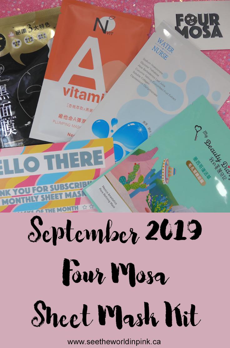 September 2019 - Four Mosa Sheet Mask Kit Subscription
