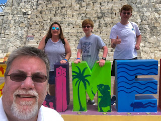 David Brodosi and family visiting the Ancient Ruins in Cozumel Mexico