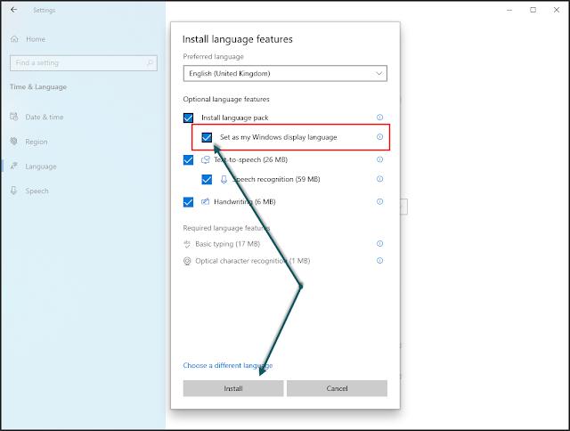 تحديد خيار Set as my Windows display language