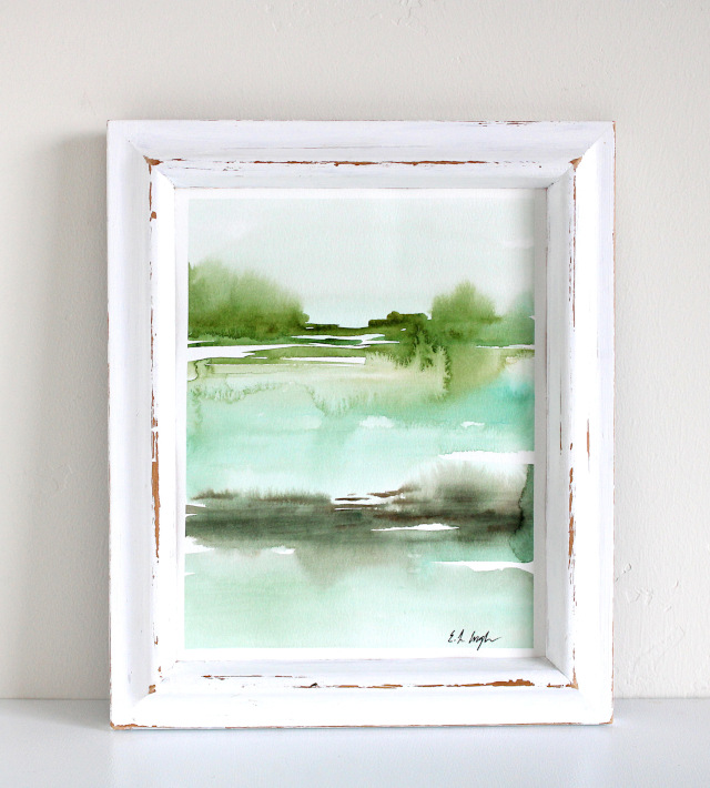 Green Abstract Watercolor Landscape by Elise Engh
